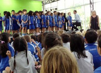 """The Year 1 children perform their song: """"Bound for South Australia""""."""