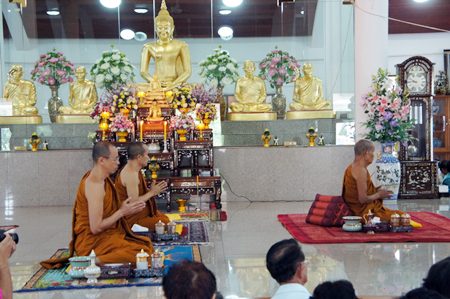"Chonburi Chief of Monks Than Jaokhun Worapot Punyajan presides over the July 9 ""Mahaburaphajan"" event attended by 48 monks from around the country."
