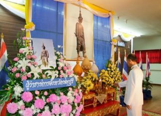 Gov. Khomsan Ekachai leads ceremonies to mark the 325th anniversary of the death of King Narai the Great.