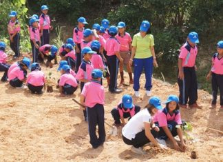 Youngsters help Banglamung District Chief Sakchai Taengho and staff of the East Water Group plant tree saplings to mark Preservation and Development of Nationwide Rivers and Canals Day.