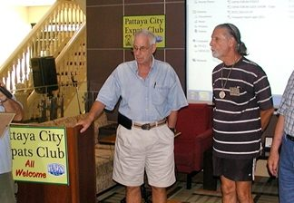 At the Pattaya City Expats Club AGM on the 7th of July, it was time to thank all those who had contributed to a successful year. Board member Jerry Dean presents Certificates of Appreciation to Richard Silverberg for sterling service as an MC, and to Mike Warner and Wilson Fletcher for greeting visitors & new members to the club.