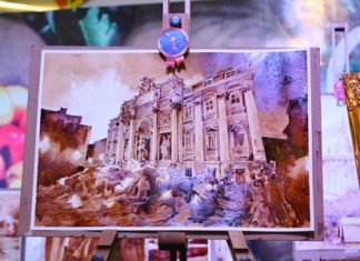 Trevi Mountain by Thanakorn Sueb-am, winner of the Ripley's Believe It or Not! coffee painting in the higher education category.