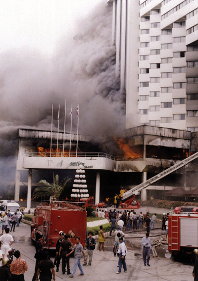 The resort towns of Pattaya and Jomtien were forever changed on Friday, July 11, 1997, when the now world infamous Royal Jomtien Hotel was turned into a towering death trap by careless kitchen staff and reckless management policy.  90 people perished and scores of others were injured in Thailand's worst ever hotel fire catastrophe.