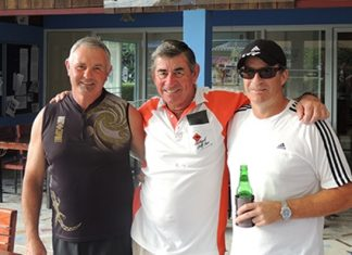 Friday winner Geoff Christie (right) with John Low and Tim Knight.