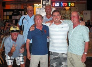 Friday's top two teams: Alan Bissell, Andy Crabb and Tony Duthie with Andy Oz, Jimmy Johnson and Mike Chatt.