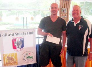 Andre Coetzee - Low Gross winner (left) with Golf Chairman Joe Mooneyham.