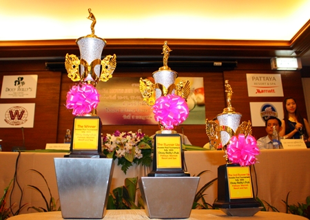 Trophies await the winners of the 2013 Pattaya Hotelier Pool Tournament.