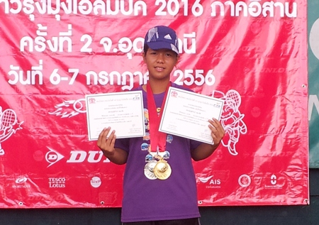 Thitirat Kanaphuet poses with her certificates and medals following her success in the recent junior tournament in Udon Thani.