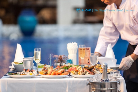 August seafood BBQ buffet at A-One Royal Cruise Hotel.