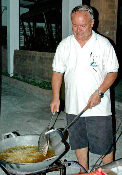 Past district governor, Premprecha Dibbayawan cooks up a storm to feed the children and the adults.