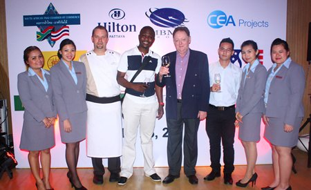 (L to R) Sunisa Chantamenchai, Thonpakkaorn Jeerawatthanachoke, Event Sales Executive, Shaun Venter, Executive Sous Chef, Hilton Pattaya, Raymond W Manzini, First Secretary, Political, South African Embassy Thailand, Allan Riddell, Director, Pasit Foobunma, Board Member/Web Master, South African -Thai Chamber of Commerce, Varaporn Lamai, Assistant Director of Sales and Pathitta Utsa, Assistant C&E Sales Manager of Hilton Pattaya.