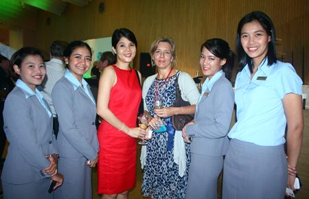 (L to R) Pabhada Sungkapo, Event Sales Executive, Unchalee Chamnithurakarn, Senior Sales Manager-Corporate, Hilton Pattaya, Anchalee Lekvichai, Furniture Sourcing Agent, AL1 Company Limited, Judy A. Benn, Executive Director of the American Chamber of Commerce in Thailand and Athicol Mahachai, Event Sales Executive, Thitiporn Boonsuk, Director of Sales, Hilton Pattaya.