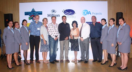 (L to R) Unchalee Chamnithurakarn, Senior Sales Manager-Corporate, Sunisa Chantamenchai, Thonpakkaorn Jeerawatthanachoke, Event Sales Executive, Hilton Pattaya, Chris Thatcher, Director, British Chamber of Commerce Thailand, Judy A. Benn, Executive Director of the American Chamber of Commerce in Thailand, Simon Matthews, Country Manager Thailand, Manpower Group, Philippe Kronberg, General Manager of Hilton Pattaya, Sue Kukarja, PMTV Director, Pattaya Mail Media Group, MBMG Group Managing Director Graham Macdonald MBE, president of the SACCT, Kevin Fisher, MD of CEA, Varaporn Lamai, Assistant Director of Sales, Suratchada Chaivorawat, Sales Executive - Corporate and Pathitta Utsa, Assistant C&E Sales Manager of Hilton Pattaya.
