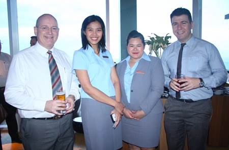 (L to R) MBMG Group Managing Director Graham Macdonald MBE, president of the SACCT, Thitiporn Boonsuk, Director of Sales, Pathitta Utsa, Assistant C&E Sales Manager of Hilton Pattaya and Carlo Principe, Associate Director, RSM Recruitment (Thailand) Limited.