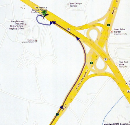 Google Maps show that if you were going from Foodland in Pattaya Klang, it would take only 11 minutes to get to Regent's School via Sukhumvit, the new Highway 7 Link and exiting onto Highway 36 towards Banglamung.
