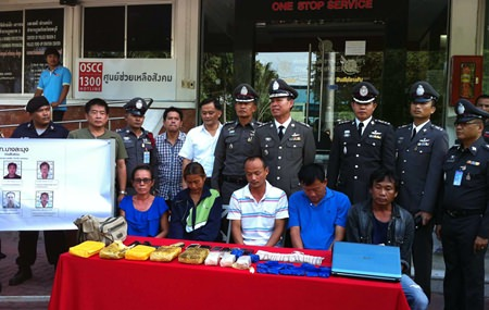 Chonburi and Banglamung police arrested five alleged members of a major methamphetamine ring and seized 24,000 ya ba tablets.