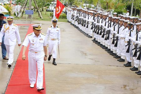 Adm. Surasak Rungrerngrom inspects the troops during the Marine Corps' 58th anniversary celebrations in Sattahip.