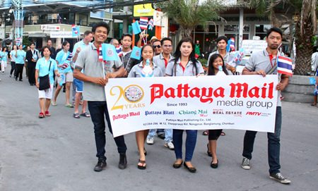 Pattaya Mail staff always take part in HM the Queen's birthday parade.