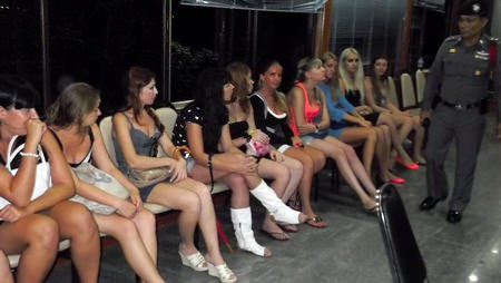 Police arrested 10 Russian women for working as dancers without work permits on Walking Street.