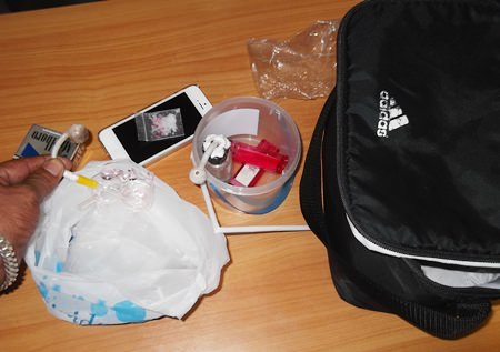 Police didn't find any drugs in the apartment, but did find this paraphernalia.