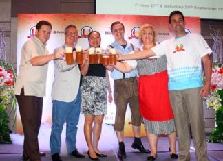 The management says 'Prost' with Paulaner Weissbier. (From left) Gerard Walker, Ken Whitty and his wife Kanpitcha Kongsombat, Markus Hesse, Peta Ruiter and general manager Philippe Kronberg.