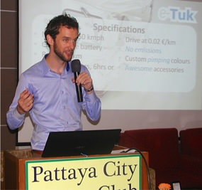 Speaker for Pattaya City Expats Club for August 4th was Managing Director of the Electric Tuk Tuk Company, Dennis Harte of Holland. They manufacture the vehicles in Samut Prakarn (SE of Bangkok) for export to many countries.