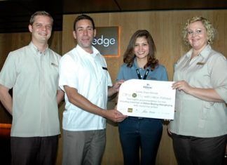 (L to R) Markus Hesse, Assistant Food & Beverage Manager, Philippe Kronberg, General Manager, Angila Lampiam, 2nd lucky winner of Dine 'n' Fly with Hilton Pattaya promotion, and Peta Ruiter, Director of Business Development.