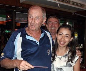 Colin Davis (left) congratulates Sunday's winner Yui Bietry.