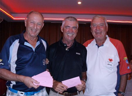 Colin Davis (left) with Sunday's winners Jean LaRoche and Peter Henshaw.
