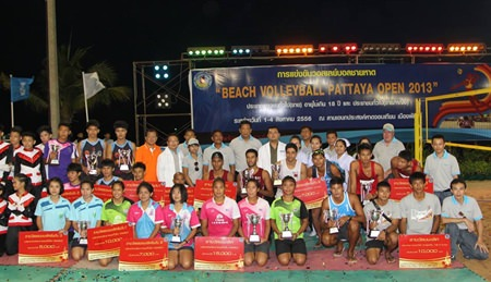 Prize winners in each category pose for a group photo.