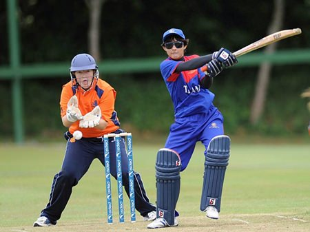 Thailand's Nattakan Chantham hits out against the Netherlands in an ICC Women's World Twenty20 Qualifier held in Ireland last month.