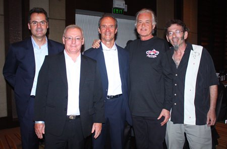 (L to R) Richard Margo, Niven Walters, Woody, Jimmy Page and JD.