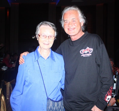 Jimmy Page thanks Sister Joan from the Fountain of Life, the main beneficiary of the Jesters Care for Kids charity drive, for the outstanding job she does taking care of underprivileged children.