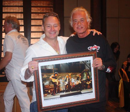 Jimmy Page and Donnie Barker with his Ross Halfin Rock n Roll of Fame photo.