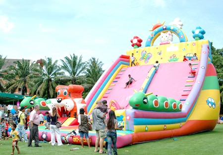 The huge balloon slide is a bit scary at first, but great fun for the brave.