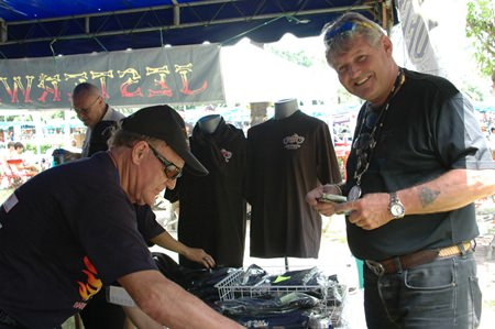 Bjarne Nielsen can't resist the Jesterswear on sale at the fair.