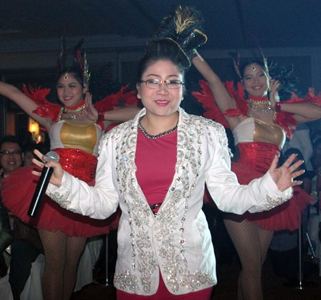 """Pattaya spokeswoman Yuwida Jeerapan all dressed up for the """"luk thung"""" party."""