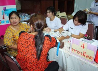 """Citizens receive blood tests to check for calories in their blood during the recent """"Pattaya Loves Health"""" project."""