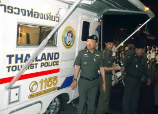 Top Tourist Police officials roll out the new mobile police unit on Walking Street.