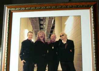 Ross Halfin signed photo of Led Zeppelin about to go on stage for their 2007 reunion Celebration Day.
