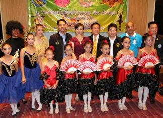 Pattaya officials and dancers gather to announce this year's charity ballet at the new Coliseum theater to provide scholarships for underprivileged children.