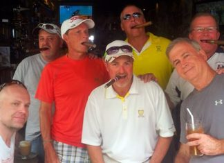 Smokin' Jay Burns back at The Golf Club, with a few fans.