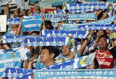 Joyous Pattaya United fans celebrate after the victory over BEC Tero Sasana, Saturday, Sept. 7. (Photo courtesy Pattaya United FC).