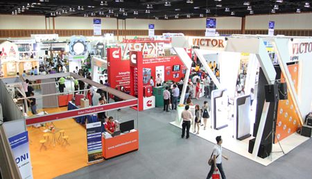 Delegates visit the many exhibits at the Thai Electrical & Mechanical Contractors Association (TEMCA) Seminar and Exhibition 2013.