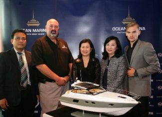 From left: Mr. Prommate Nathomtong, TAT's Director Service Promotion Division; Mr. Scott Finsten, Ocean Marina Yacht Club's Harbour Master; Ms. Wilaiwan Thawitsri, TAT's Deputy Governor for Tourism Products and Business; Mrs. Supatra Angkawinijwong, Ocean Property's Deputy Managing Director; and a model from Edox.