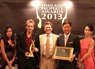 (From left): Sukanya Gale, Winston Gale, founder and co- developer of The Palm, Clayton Wade, Premier Homes & awarding judge, Birathon Kasemsri Na Ayudaya, partner in The Palm, and wife Kazuko Kasemsri, pose for a photo at the conclusion of the 2013 Thailand Property Awards gala dinner held at The Centara Grand in Bangkok, Sept. 19.