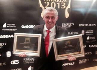 Keith Storey, Group Sales Manager for the Nova Group, holds 2 Highly Commended awards for Nova's The Cliff condominium and the Novana Residence in Pattaya. The company also won Best Condominium Award (Eastern Seaboard) as joint developers of The Palm.
