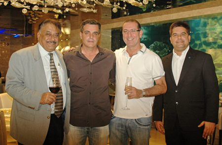 Tulip Group CEO, Kobi Elbaz (2nd left) welcomes Pattaya Mail's Managing Director Pratheep (Peter) Malhotra (left) and Marketing Director Tony Malhotra (right) along with Matrix Developments MD, Miki Haim, to the hotel's friends and media open night on Oct. 23.