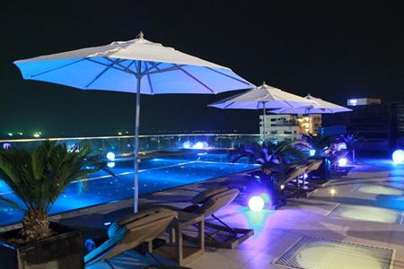 The 9th floor pool deck provides a venue for amazing sunsets and starlit evenings.