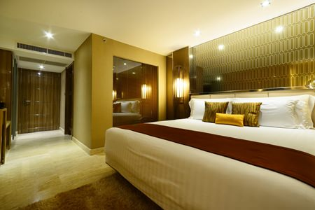 The Deluxe rooms at the hotel come with a full set of amenities and luxurious furniture and fittings.